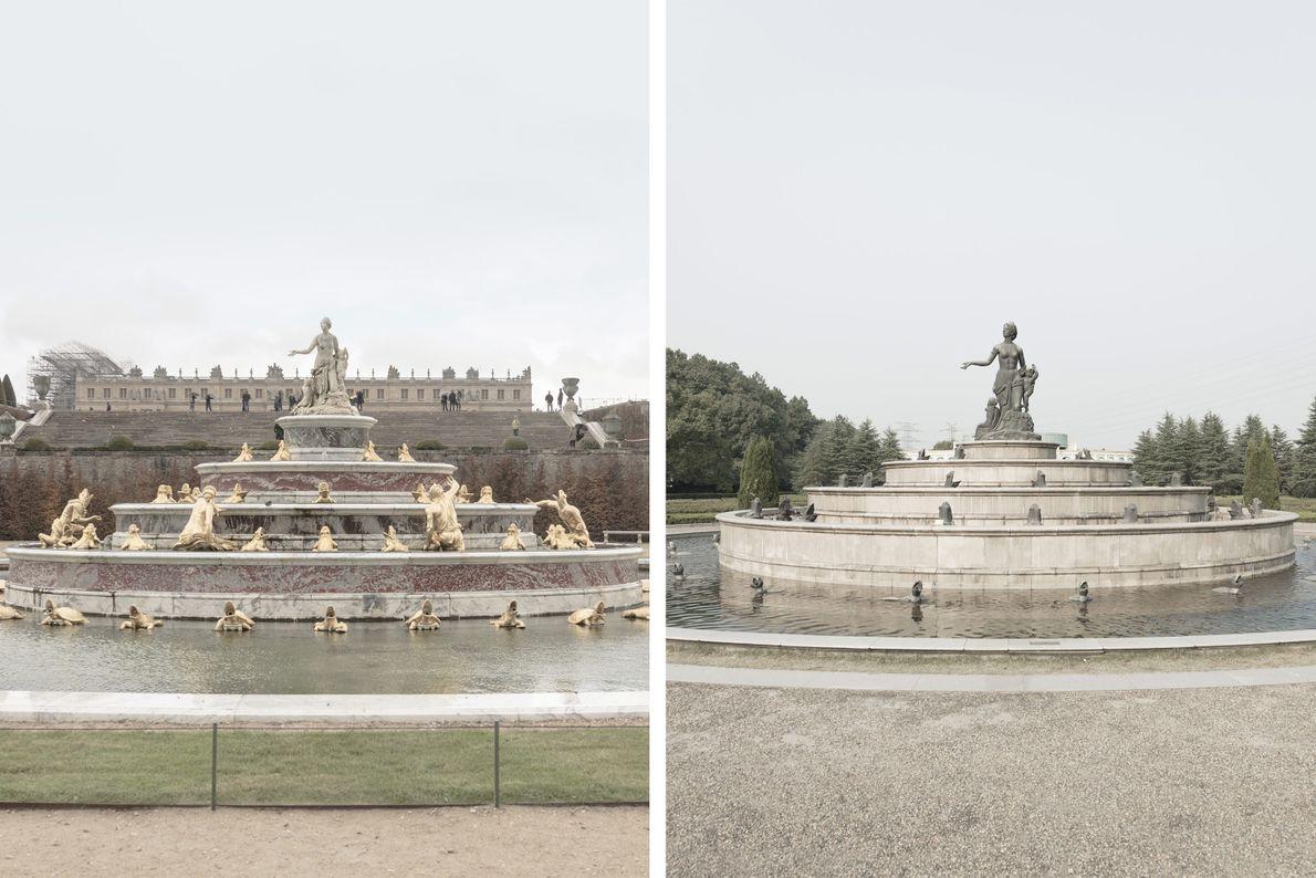 Eine abgespeckte Version des Latona-Brunnens in Paris (links) findet sich auch in Tianducheng (rechts).