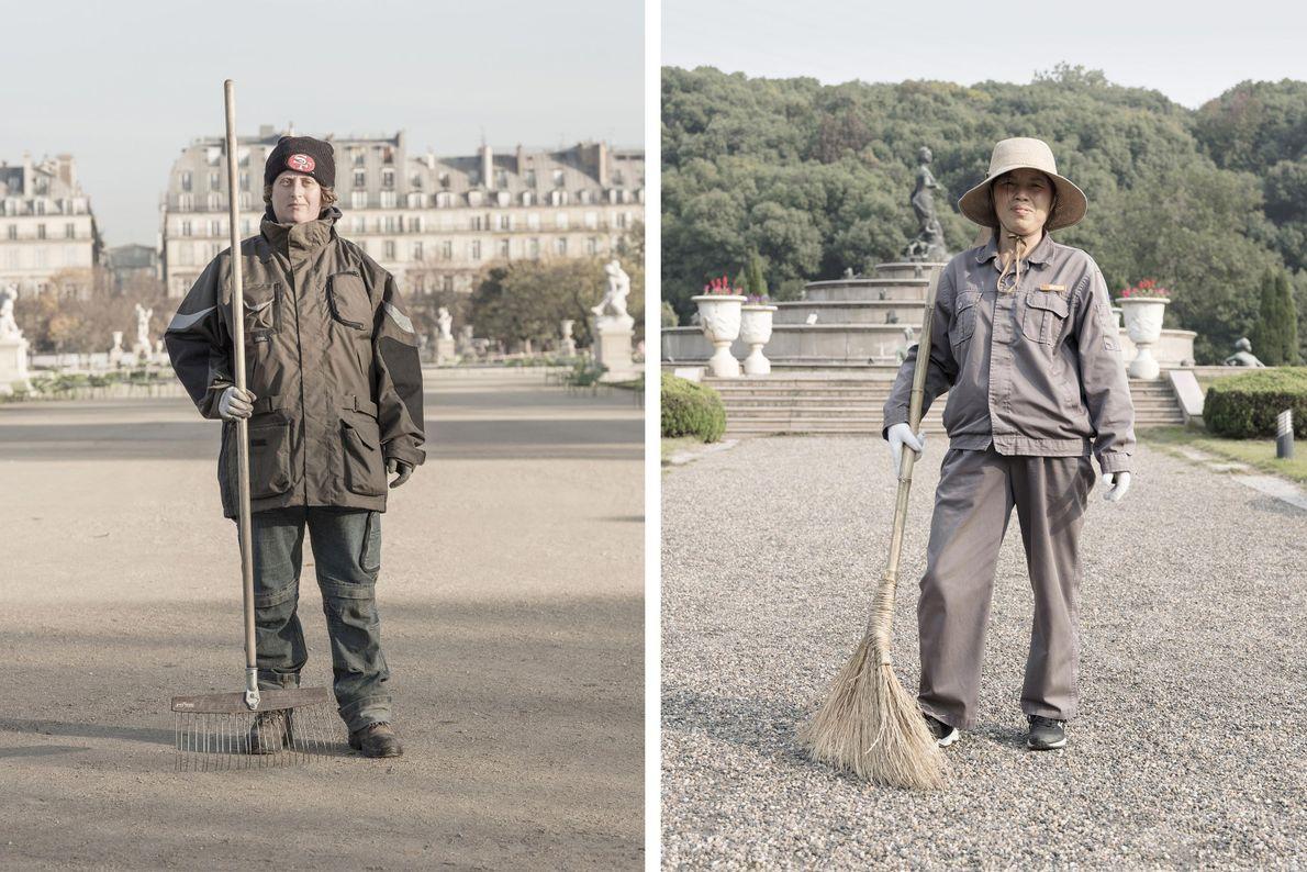 Gärtner pflegen die Parks von Paris (links) und Tianducheng (rechts).