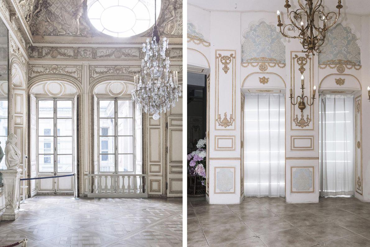 Die Innenausstattung eines Gebäudes in Tianducheng (rechts) wurde von den kunstvoll verzierten Räumen von Versailles (links) ...