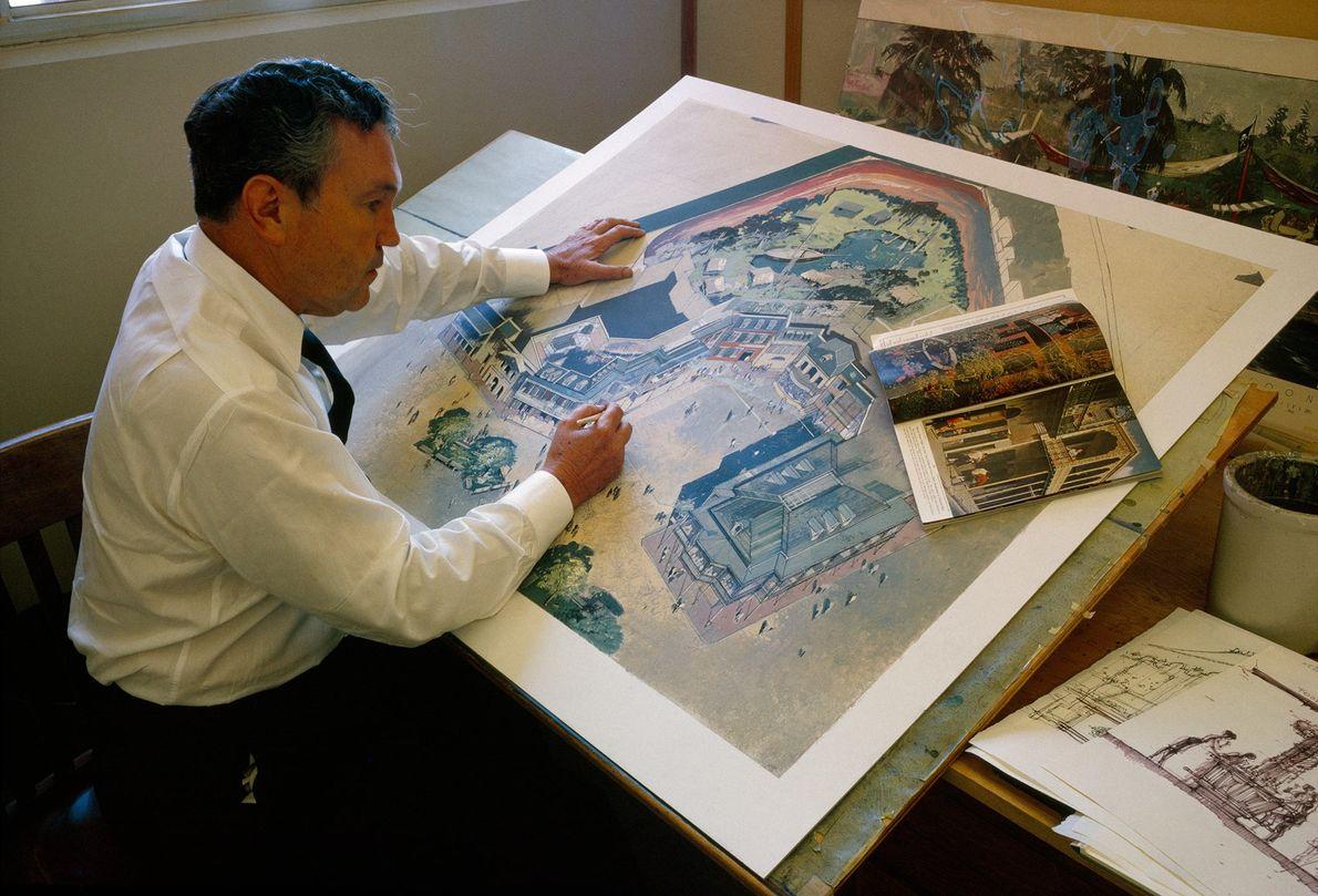 Ein Künstler nutzt bei der Planung von Disneylands Architektur ein National Geographic Magazin als Inspiration.