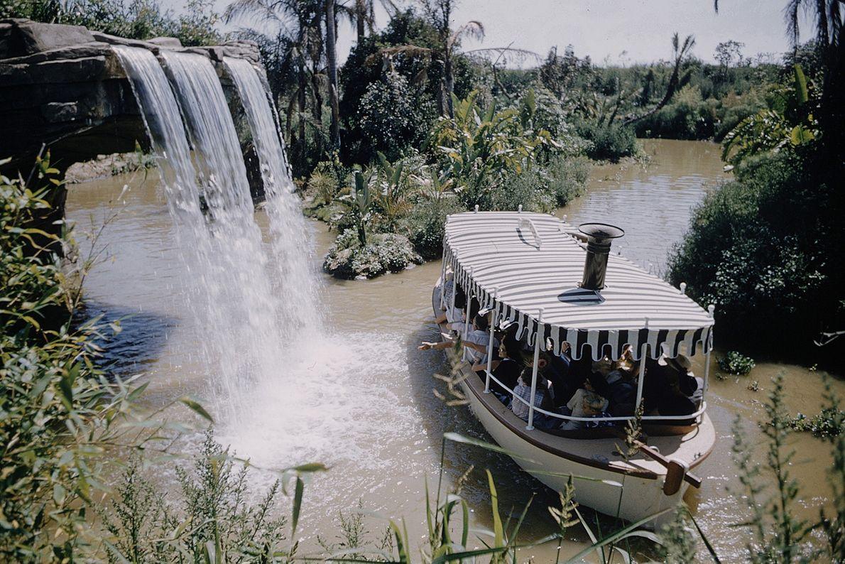 """Disneylands """"Jungle Cruise"""" bot Animatronik-Tiere und eine sattgrüne Landschaft mitten im kalifornischen Anaheim."""