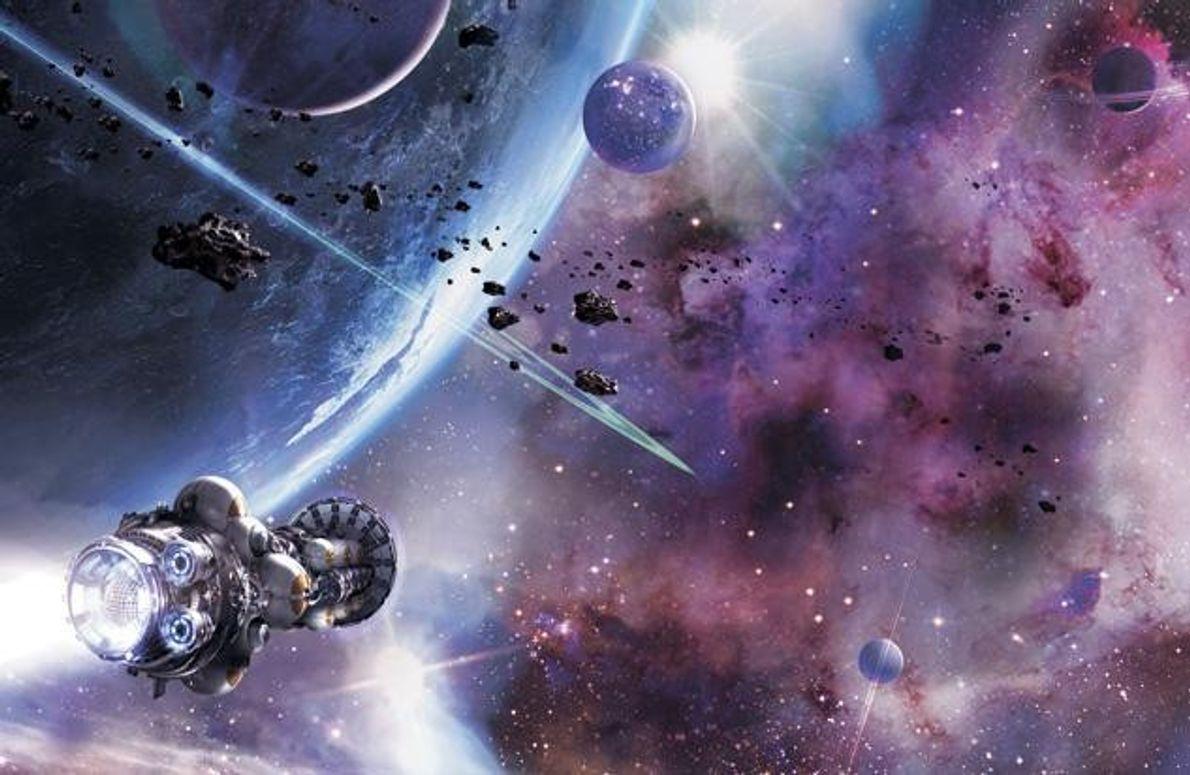 Eine unbemannte Sonde mit Fusionsantrieb erreicht ein unbekanntes Sonnensystem. Pro Stunde kommt sie 160 Millionen Kilometer …
