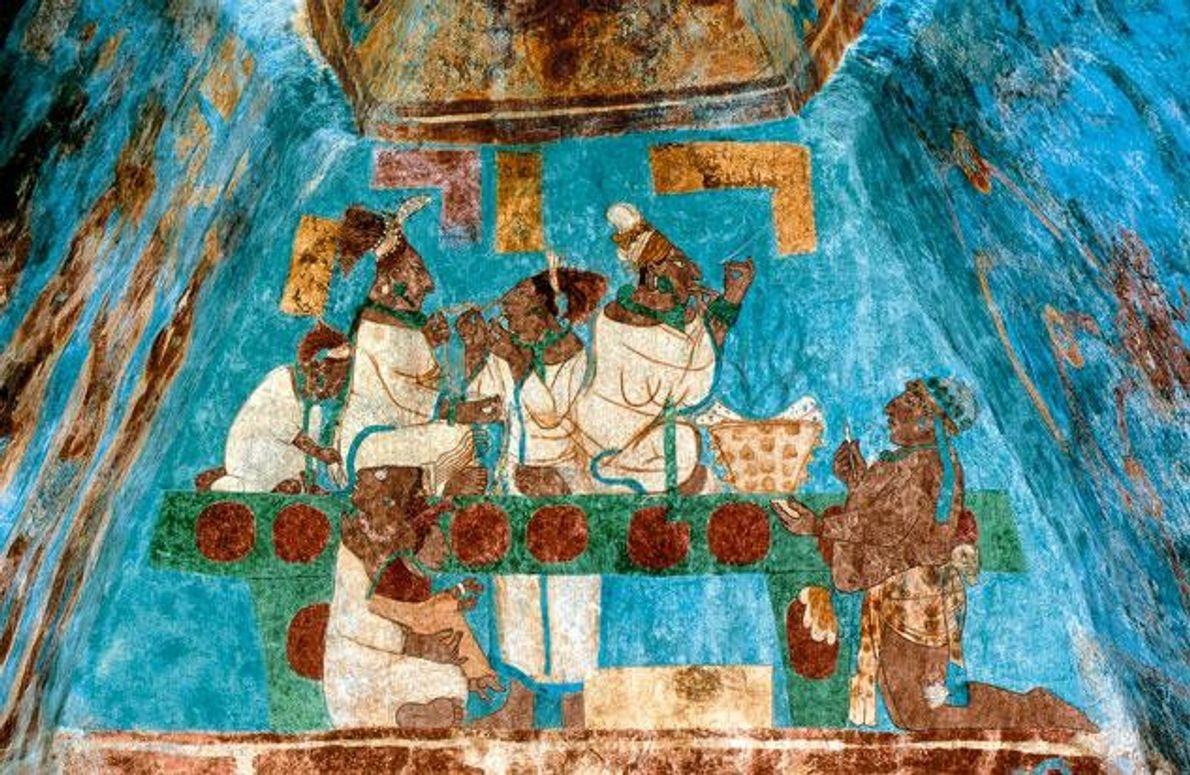 Auf einem Wandgemälde in Bonampak durchstechen diese Maya ihre Zungen – Teil eines heiligen Rituals zu …