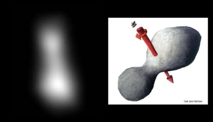 Vor dem Vorbeiflug kombinierten Wissenschaftler zwei Bilder von 2014 MU69, die New Horizons mit ihrem Bordteleskop ...