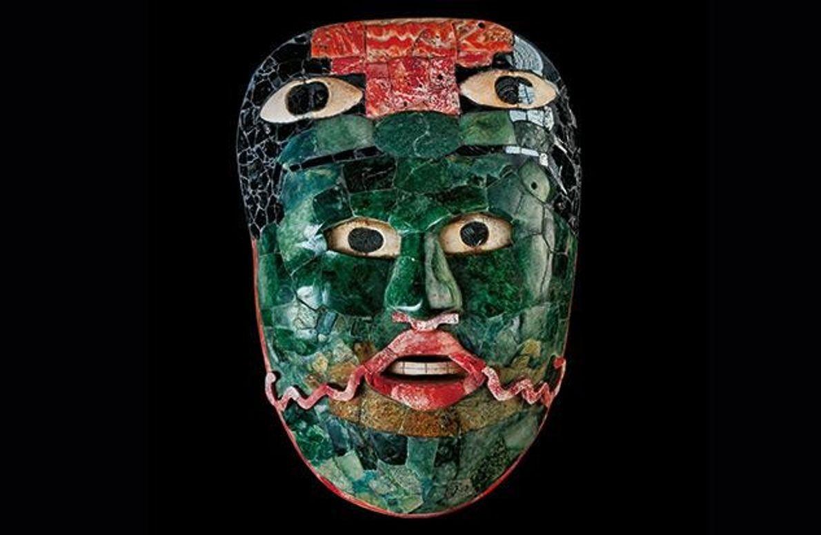 Diese prächtige Totenmaske wurden in Gräbern in Calakmul gefunden. Grüne Jade war für die Maya wertvoller …