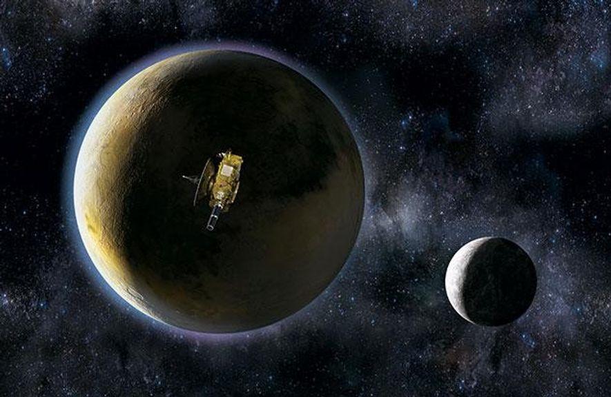 """Wie auf dieser Grafik könnte die Annäherung von """"New Horizons"""" an Pluto aussehen. Rechts unten Plutos ..."""