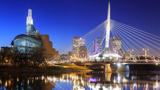 Lichter der Skyline von Winnipeg